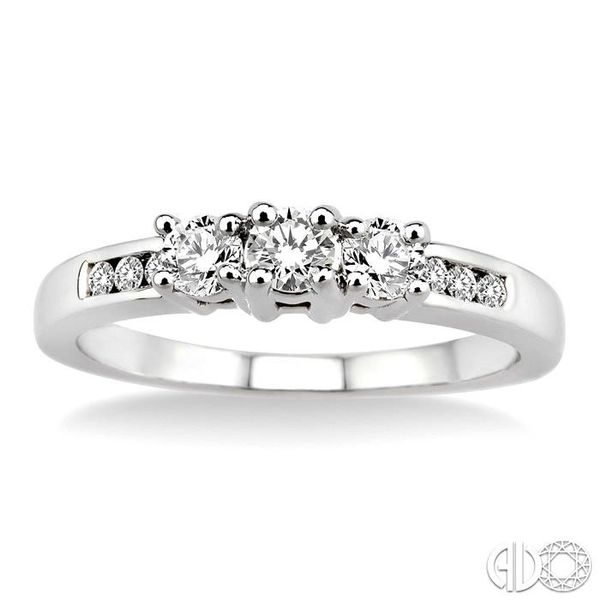 1/2 Ctw Diamond Engagement Ring with 1/6 Ct Round Cut Center Stone in 14K White Gold Image 2 Robert Irwin Jewelers Memphis, TN