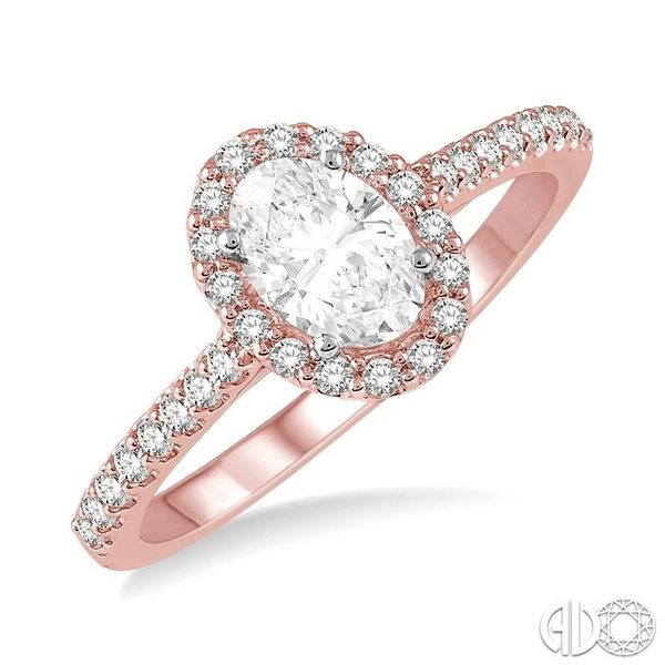 3/8 ct Oval & Round Cut Diamond Ladies Engagement Ring in 14K Rose and White Gold Robert Irwin Jewelers Memphis, TN