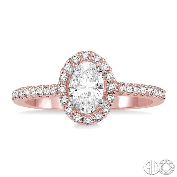3/8 ct Oval & Round Cut Diamond Ladies Engagement Ring in 14K Rose and White Gold Image 2 Robert Irwin Jewelers Memphis, TN