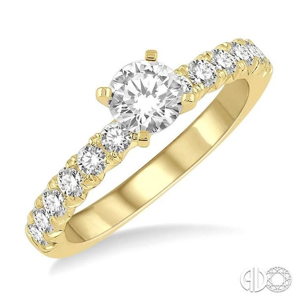 1 Ctw Diamond Ladies Engagement Ring with 1/2 Ct Round Cut Center Stone in 14K Yellow Gold Robert Irwin Jewelers Memphis, TN
