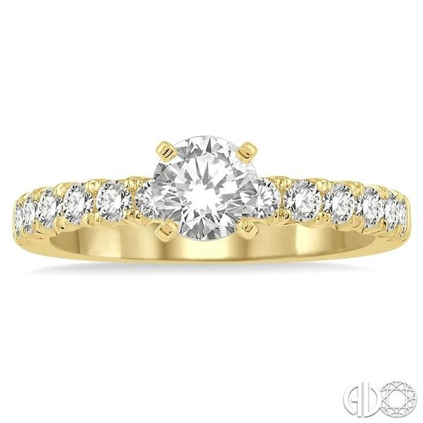 1 Ctw Diamond Ladies Engagement Ring with 1/2 Ct Round Cut Center Stone in 14K Yellow Gold Image 2 Robert Irwin Jewelers Memphis, TN