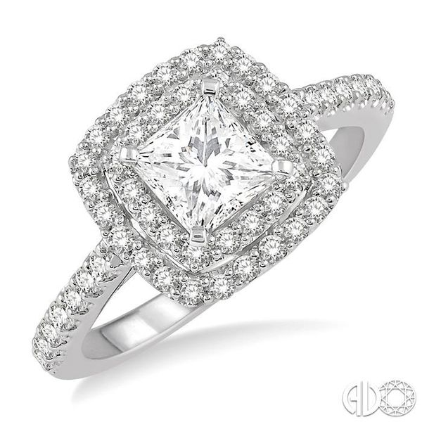 1 Ctw Princess Cut Center Stone Diamond Ladies Engagement Ring in 14K White Gold Robert Irwin Jewelers Memphis, TN