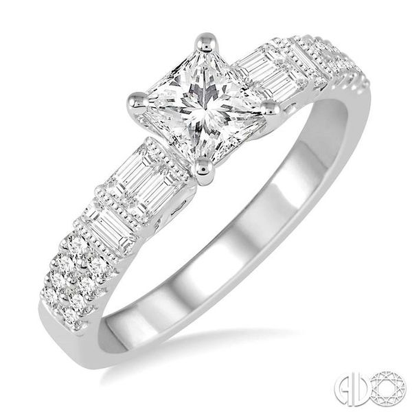 1 1/10 Ctw Diamond Engagement Ring with 5/8 Ct Princess Cut Center Stone in 14K White Gold Robert Irwin Jewelers Memphis, TN
