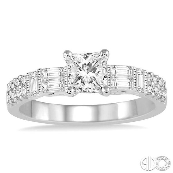 1 1/10 Ctw Diamond Engagement Ring with 5/8 Ct Princess Cut Center Stone in 14K White Gold Image 2 Robert Irwin Jewelers Memphis, TN