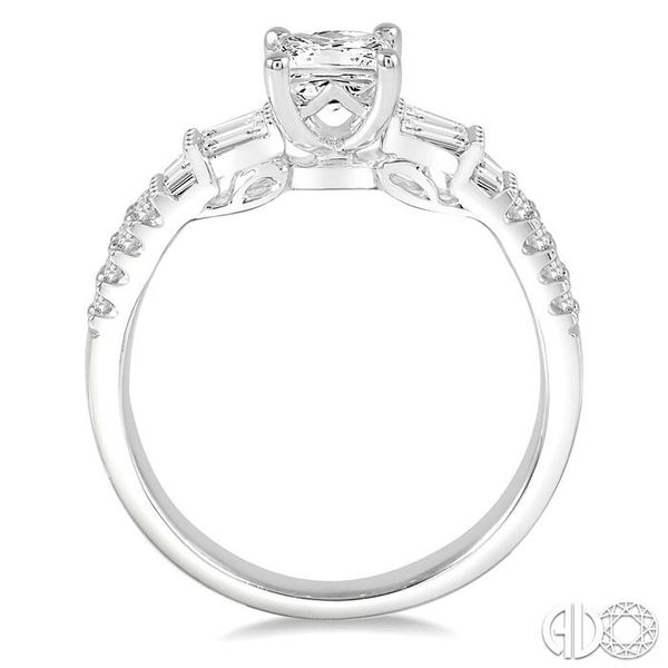1 1/10 Ctw Diamond Engagement Ring with 5/8 Ct Princess Cut Center Stone in 14K White Gold Image 3 Robert Irwin Jewelers Memphis, TN
