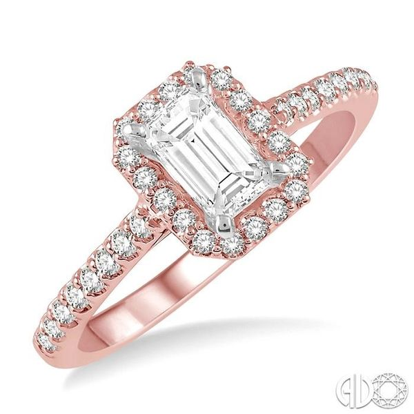 3/4 Ctw Octagonal Emerald Cut Diamond Ladies Engagement Ring with 1/2 Ct emerald Cut Center Stone in 14K Rose and White Gold Robert Irwin Jewelers Memphis, TN