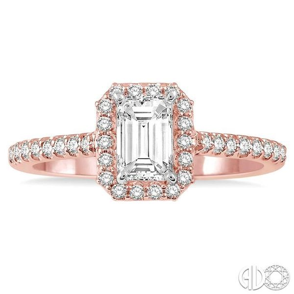 3/4 Ctw Octagonal Emerald Cut Diamond Ladies Engagement Ring with 1/2 Ct emerald Cut Center Stone in 14K Rose and White Gold Image 2 Robert Irwin Jewelers Memphis, TN