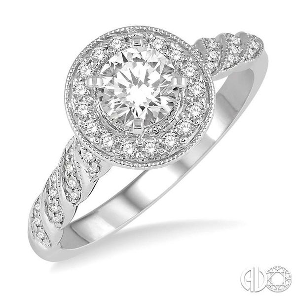 1/2 Ctw Round Shape Twisted Shank Diamond Engagement Ring in 14K White Gold Robert Irwin Jewelers Memphis, TN