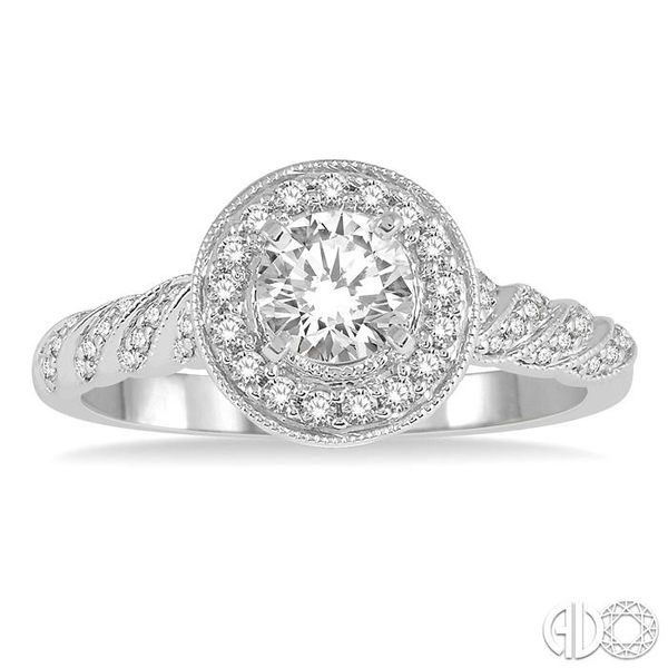 1/2 Ctw Round Shape Twisted Shank Diamond Engagement Ring in 14K White Gold Image 2 Robert Irwin Jewelers Memphis, TN