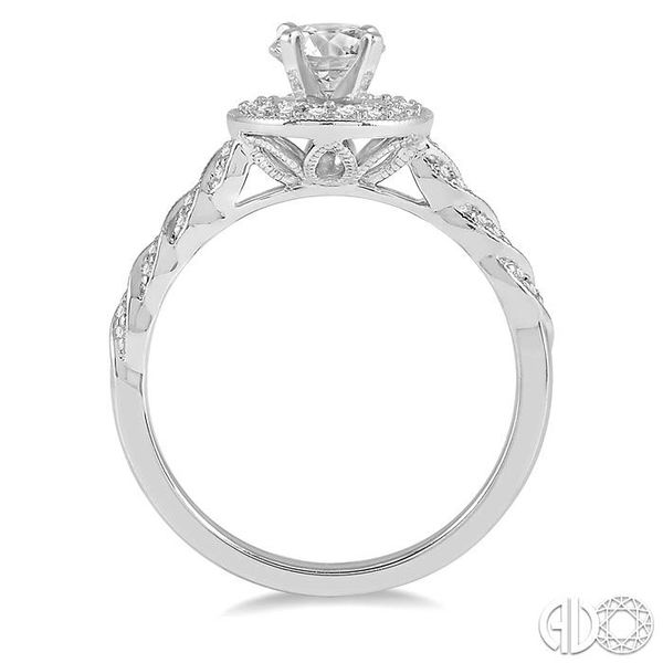 1/2 Ctw Round Shape Twisted Shank Diamond Engagement Ring in 14K White Gold Image 3 Robert Irwin Jewelers Memphis, TN