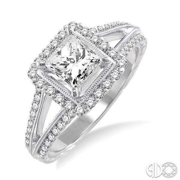 1 1/6 Ctw Diamond Engagement Ring with 3/4 Ct Princess Cut Center Stone in 14K White Gold Robert Irwin Jewelers Memphis, TN