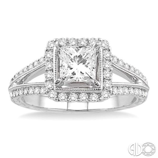 1 1/6 Ctw Diamond Engagement Ring with 3/4 Ct Princess Cut Center Stone in 14K White Gold Image 2 Robert Irwin Jewelers Memphis, TN