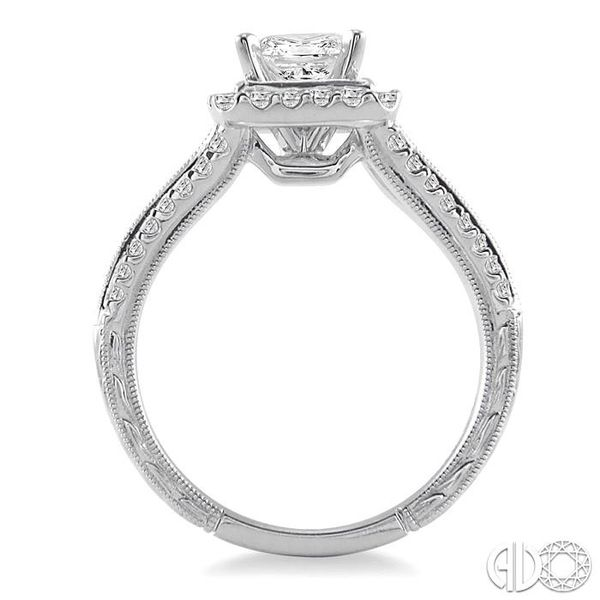 1 1/6 Ctw Diamond Engagement Ring with 3/4 Ct Princess Cut Center Stone in 14K White Gold Image 3 Robert Irwin Jewelers Memphis, TN