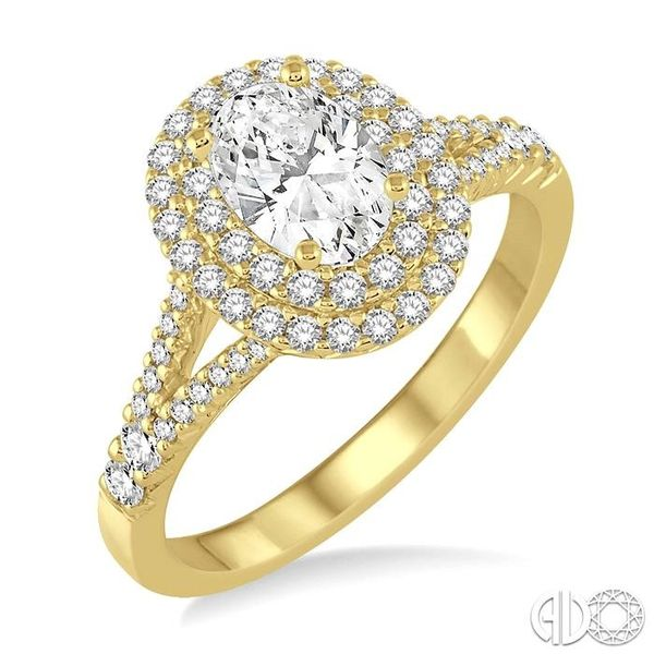 1 Ctw Diamond Engagement Ring with 1/2 Ct Oval Cut Center Stone in 14K Yellow Gold Robert Irwin Jewelers Memphis, TN