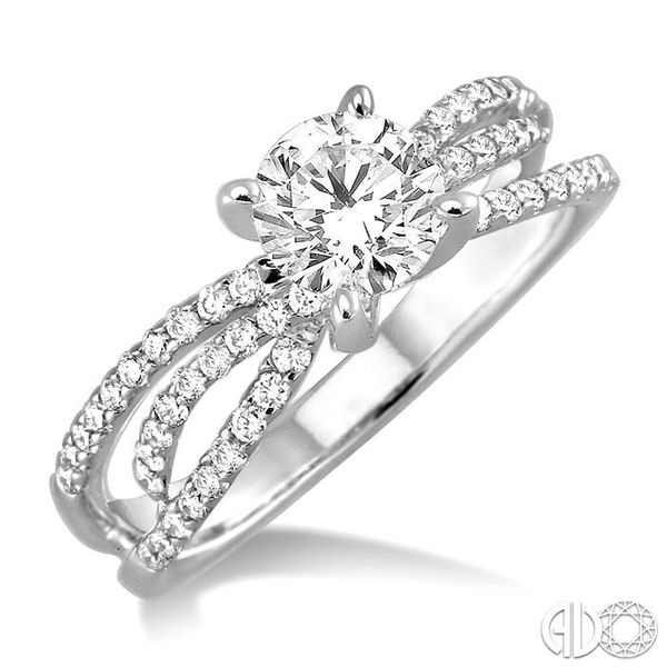 1 1/4 Ctw Diamond Engagement Ring with 7/8 Ct Round Cut Center Stone in 14K White Gold Robert Irwin Jewelers Memphis, TN