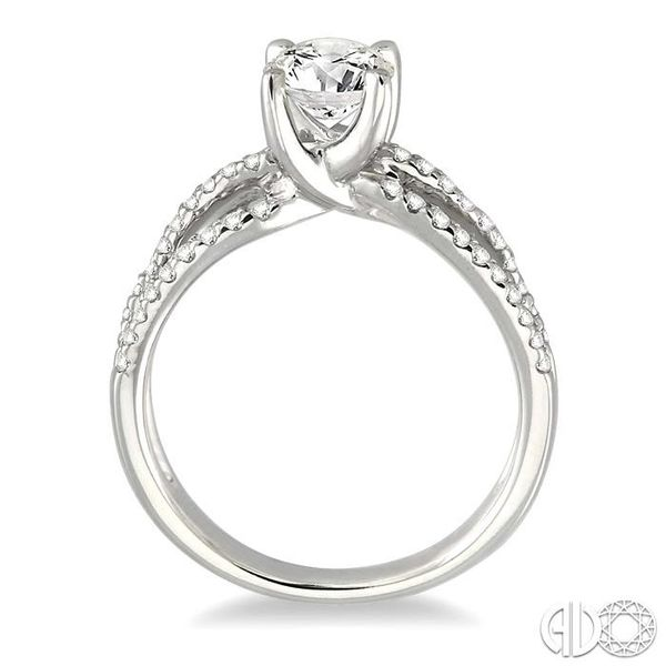 1 1/4 Ctw Diamond Engagement Ring with 7/8 Ct Round Cut Center Stone in 14K White Gold Image 3 Robert Irwin Jewelers Memphis, TN