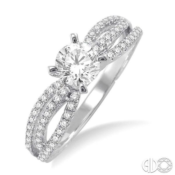 7/8 Ctw Diamond Engagement Ring with 1/2 Ct Round Cut Center Stone in 14K White Gold Robert Irwin Jewelers Memphis, TN