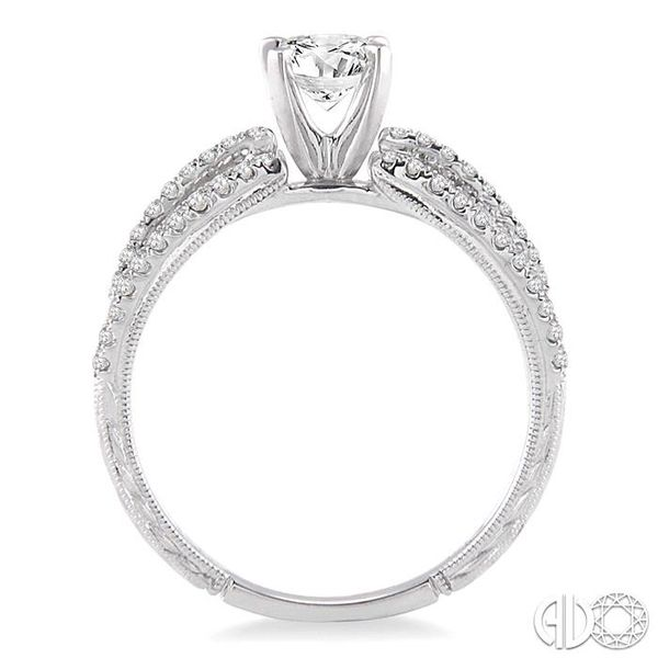 7/8 Ctw Diamond Engagement Ring with 1/2 Ct Round Cut Center Stone in 14K White Gold Image 3 Robert Irwin Jewelers Memphis, TN