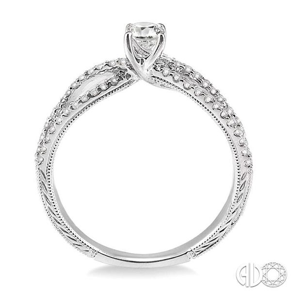 1/2 Ctw Diamond Engagement Ring with 1/5 Ct Round Cut Center Stone in 14K White Gold Image 3 Robert Irwin Jewelers Memphis, TN