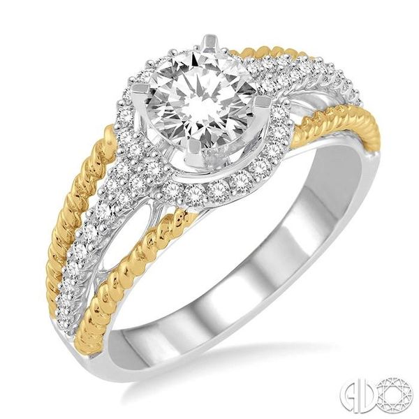 1 1/10 Ctw Diamond Engagement Ring with 3/4 Ct Round Cut Center Stone in 14K White and Yellow Gold Robert Irwin Jewelers Memphis, TN
