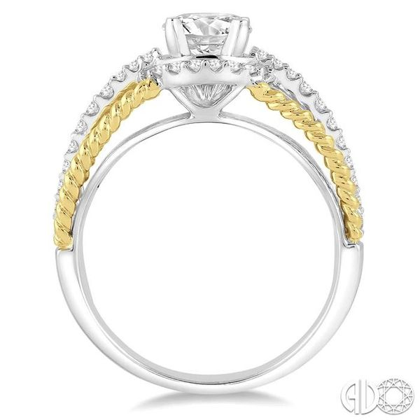 1 1/10 Ctw Diamond Engagement Ring with 3/4 Ct Round Cut Center Stone in 14K White and Yellow Gold Image 3 Robert Irwin Jewelers Memphis, TN