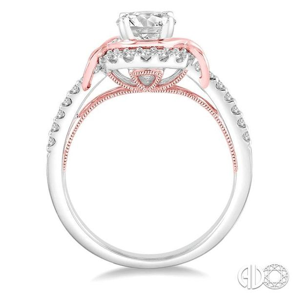 1 1/10 Ctw Diamond Engagement Ring with 3/4 Ct Round Cut Center Stone in 14K White and Rose Gold Image 3 Robert Irwin Jewelers Memphis, TN
