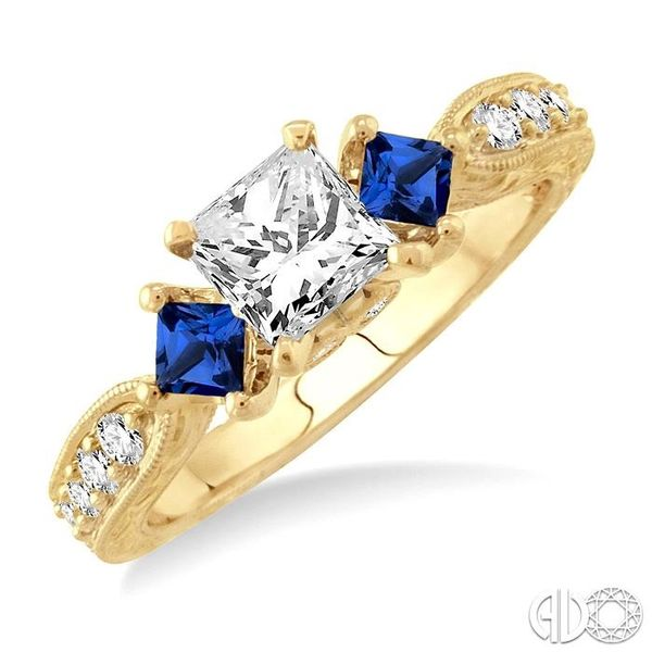 5/8 Ctw Diamond and 2.8mm Princess Cut Sapphire Engagement Ring with 3/8 Ct Princess Cut Center Stone in 14K Yellow Gold Robert Irwin Jewelers Memphis, TN