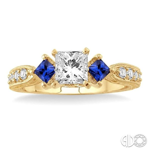 5/8 Ctw Diamond and 2.8mm Princess Cut Sapphire Engagement Ring with 3/8 Ct Princess Cut Center Stone in 14K Yellow Gold Image 2 Robert Irwin Jewelers Memphis, TN