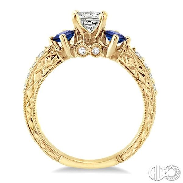 5/8 Ctw Diamond and 2.8mm Princess Cut Sapphire Engagement Ring with 3/8 Ct Princess Cut Center Stone in 14K Yellow Gold Image 3 Robert Irwin Jewelers Memphis, TN