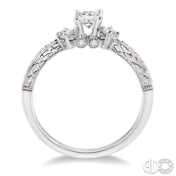 3/8 Ctw Diamond Engagement Ring with 1/5 Ct Princess Cut Center Stone in 14K White Gold Image 3 Robert Irwin Jewelers Memphis, TN