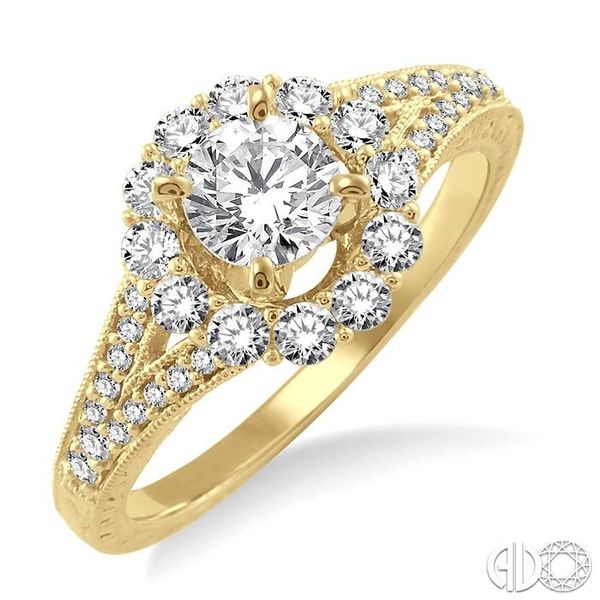 1 Ctw Diamond Flower Engagement Ring with 1/2 Ct Round Cut Center Stone in 14K Yellow Gold Robert Irwin Jewelers Memphis, TN