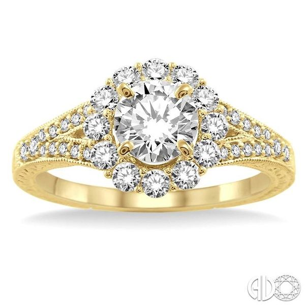 1 Ctw Diamond Flower Engagement Ring with 1/2 Ct Round Cut Center Stone in 14K Yellow Gold Image 2 Robert Irwin Jewelers Memphis, TN