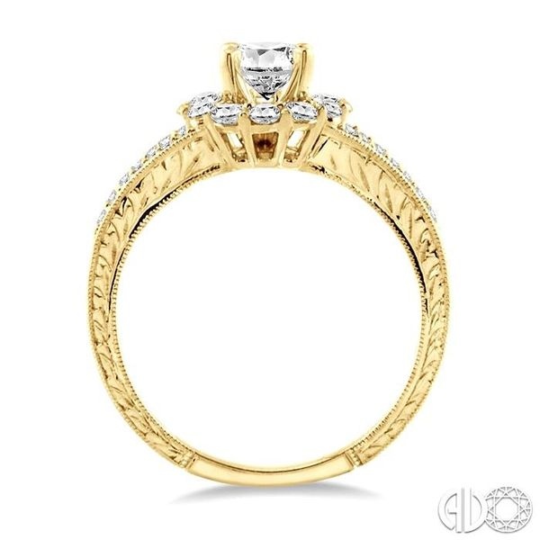 1 Ctw Diamond Flower Engagement Ring with 1/2 Ct Round Cut Center Stone in 14K Yellow Gold Image 3 Robert Irwin Jewelers Memphis, TN