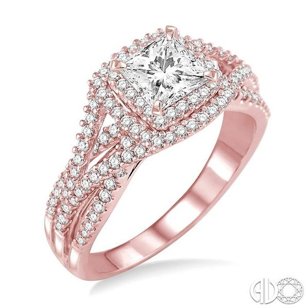 1 Ctw Diamond Engagement Ring with 1/3 Ct Princess Cut Center Stone in 14K Rose Gold Robert Irwin Jewelers Memphis, TN