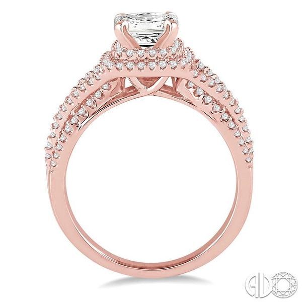 1 Ctw Diamond Engagement Ring with 1/3 Ct Princess Cut Center Stone in 14K Rose Gold Image 3 Robert Irwin Jewelers Memphis, TN