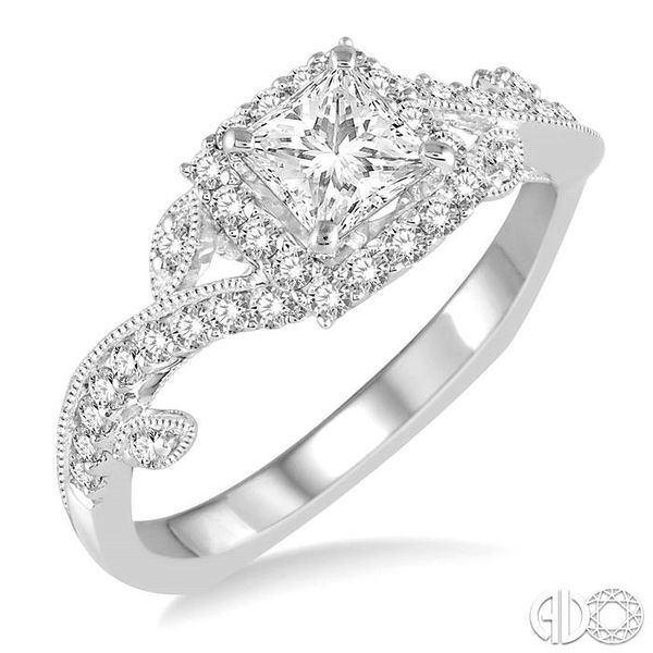 3/4 Ctw Diamond Engagement Ring with 3/8 Ct Princess Cut Center Stone in 14K White Gold Robert Irwin Jewelers Memphis, TN