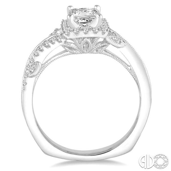 3/4 Ctw Diamond Engagement Ring with 3/8 Ct Princess Cut Center Stone in 14K White Gold Image 3 Robert Irwin Jewelers Memphis, TN