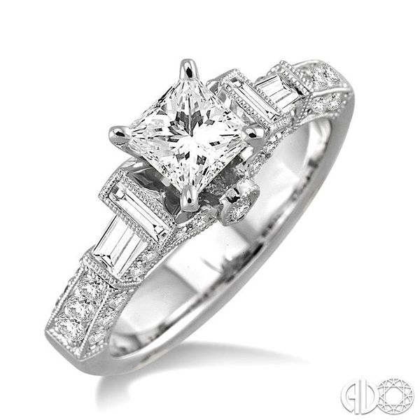 1 1/2 Ctw Diamond Engagement Ring with 3/4 Ct Princess Cut Center Stone in 14K White Gold Robert Irwin Jewelers Memphis, TN