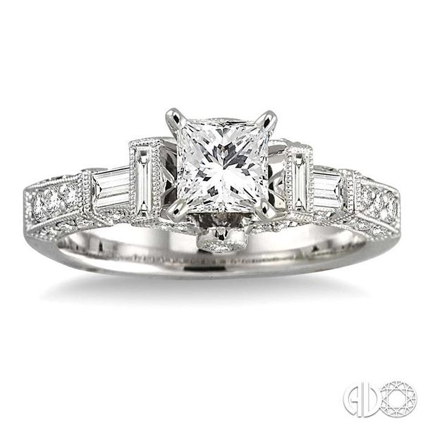 1 1/2 Ctw Diamond Engagement Ring with 3/4 Ct Princess Cut Center Stone in 14K White Gold Image 2 Robert Irwin Jewelers Memphis, TN