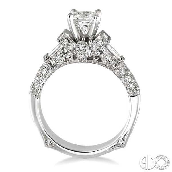 1 1/2 Ctw Diamond Engagement Ring with 3/4 Ct Princess Cut Center Stone in 14K White Gold Image 3 Robert Irwin Jewelers Memphis, TN