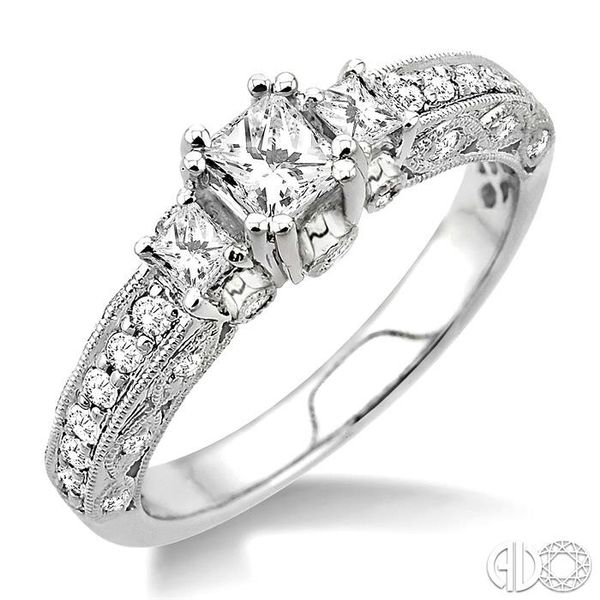 7/8 Ctw Diamond Engagement Ring with 1/3 Ct Princess Cut Center Stone in 14K White Gold Robert Irwin Jewelers Memphis, TN