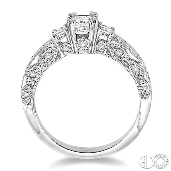 7/8 Ctw Diamond Engagement Ring with 1/3 Ct Princess Cut Center Stone in 14K White Gold Image 3 Robert Irwin Jewelers Memphis, TN
