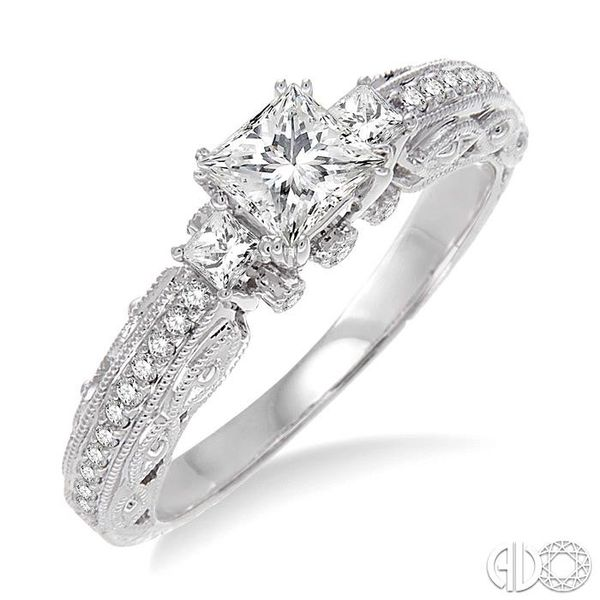 1/2 Ctw Diamond Engagement Ring with 1/3 Ct Princess Cut Center Stone in 14K White Gold Robert Irwin Jewelers Memphis, TN
