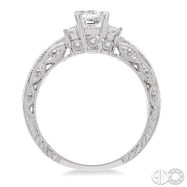 1/2 Ctw Diamond Engagement Ring with 1/3 Ct Princess Cut Center Stone in 14K White Gold Image 3 Robert Irwin Jewelers Memphis, TN