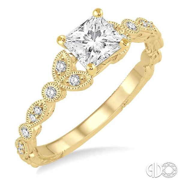 1/2 Ctw Diamond Engagement Ring with 1/3 Ct Princess Cut Center Stone in 14K Yellow Gold Robert Irwin Jewelers Memphis, TN