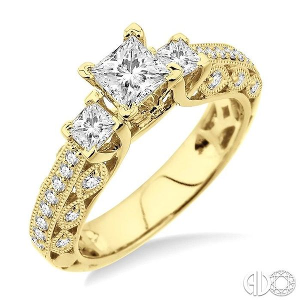 1 1/4 Ctw Diamond Engagement Ring with 1/2 Ct Princess Cut Center Stone in 14K Yellow Gold Robert Irwin Jewelers Memphis, TN