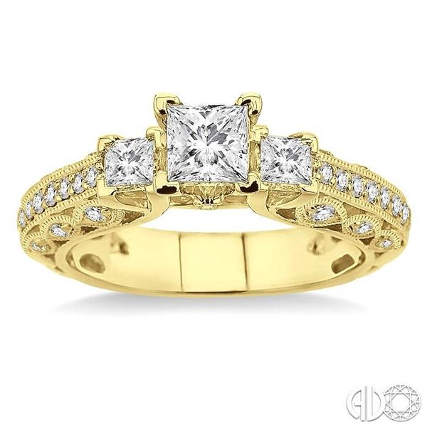 1 1/4 Ctw Diamond Engagement Ring with 1/2 Ct Princess Cut Center Stone in 14K Yellow Gold Image 2 Robert Irwin Jewelers Memphis, TN