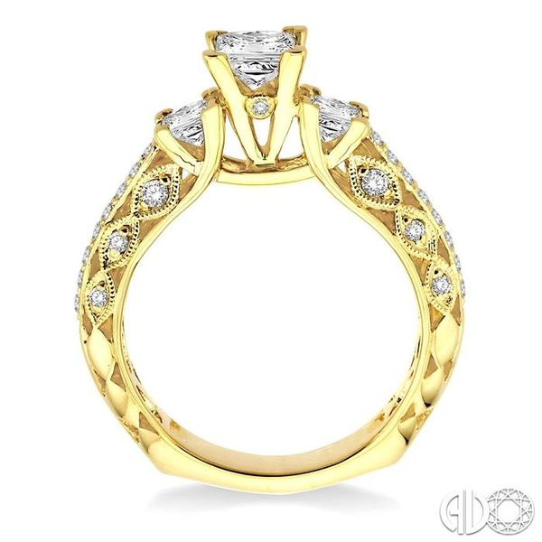 1 1/4 Ctw Diamond Engagement Ring with 1/2 Ct Princess Cut Center Stone in 14K Yellow Gold Image 3 Robert Irwin Jewelers Memphis, TN