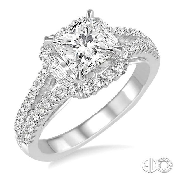 1 1/6 Ctw Diamond Engagement Ring with 5/8 Ct Princess Cut Center Stone in 14K White Gold Robert Irwin Jewelers Memphis, TN