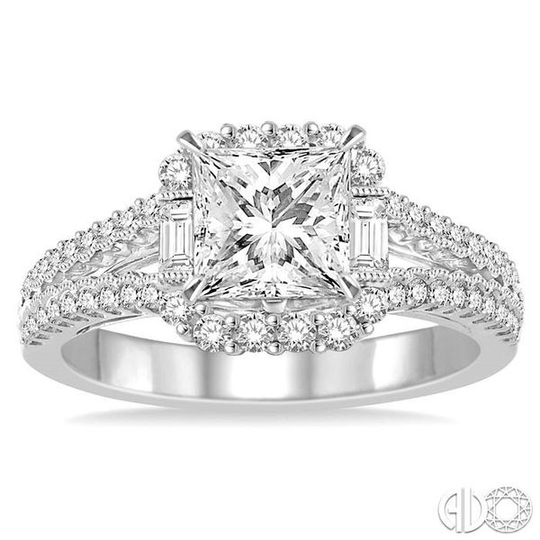 1 1/6 Ctw Diamond Engagement Ring with 5/8 Ct Princess Cut Center Stone in 14K White Gold Image 2 Robert Irwin Jewelers Memphis, TN